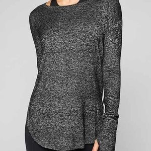 Athleta Womens Luxe Pose Top Charcoal Heather L.